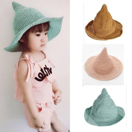 Kids Girls Children Straw Wide Large Brim Korea Summer Witch Hat Cap (Girls Witch Hat)