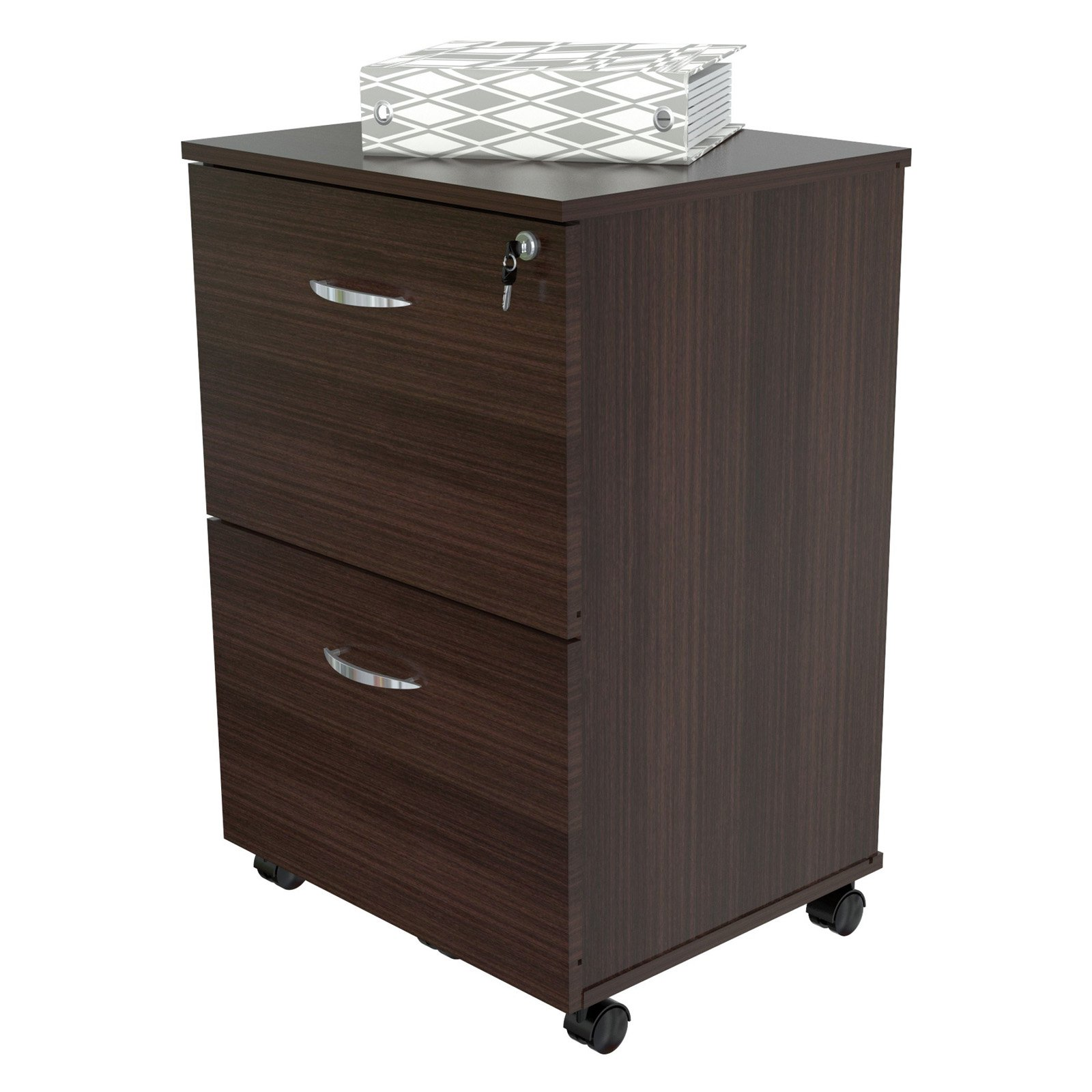 Inval 2 Drawer Vertical Wood Lockable Filing Cabinet, Espresso