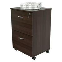 Inval 2 Drawer Vertical Wood Lockable Filing Cabinet, Espresso