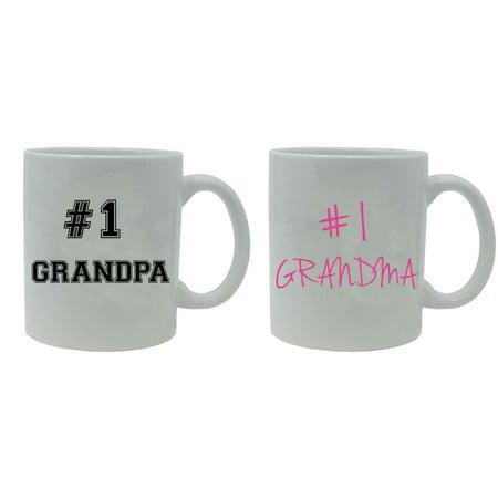 #1 Grandpa and #1 Grandma 11-Ounce White Ceramic Coffee Mugs Set, White/White