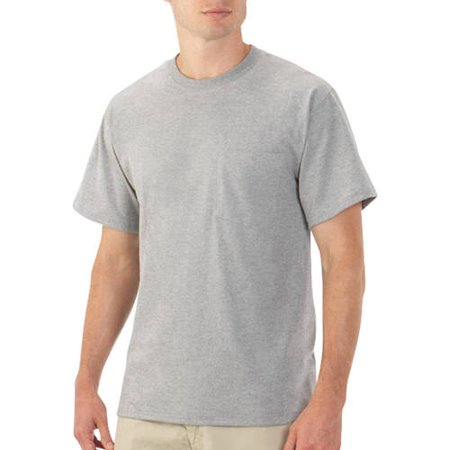 New Fruit Of The Loom Platinum Eversoft Mens Short Sleeve Crew Pocket T Shirt