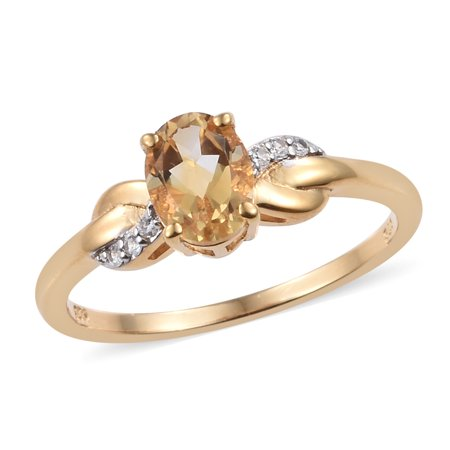 Sterling Silver 14K Yellow Gold Plated Citrine Zircon Ring Gift Cttw 1 ()
