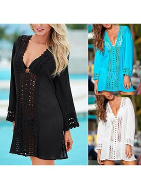 e07849a549 Product Image Women Summer Lace Crochet Bikini Cover Up Swimwear Bathing  Suit Beach Dress Tops