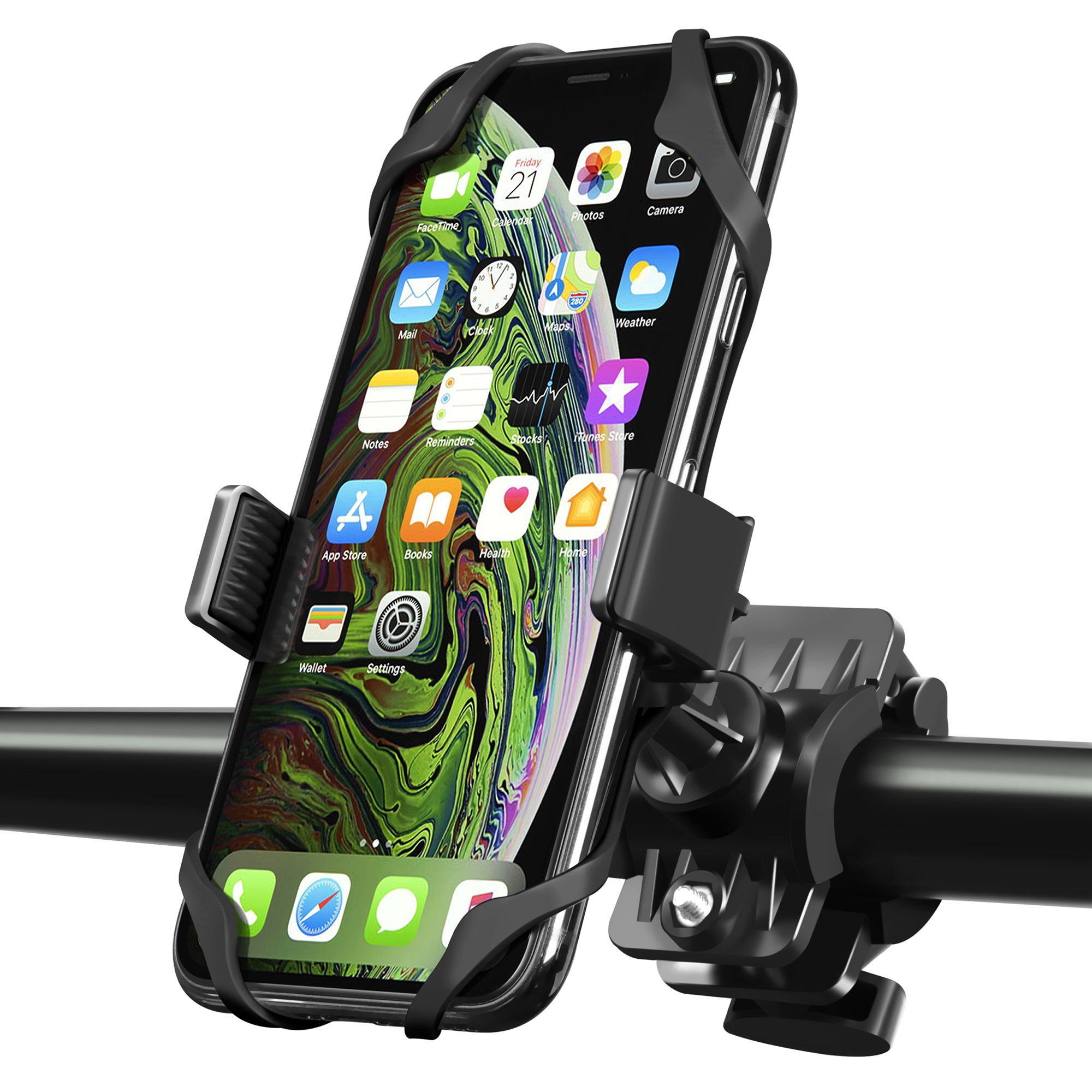 Adjustable Silicon Universal Fit Handlebars and Smart Phones Like iPhone Xs Max R X 8 Plus 7 Samsung ANCwear 5-in-1 Portable Charger and Phone Holder Bike Motorcycle Phone Mount