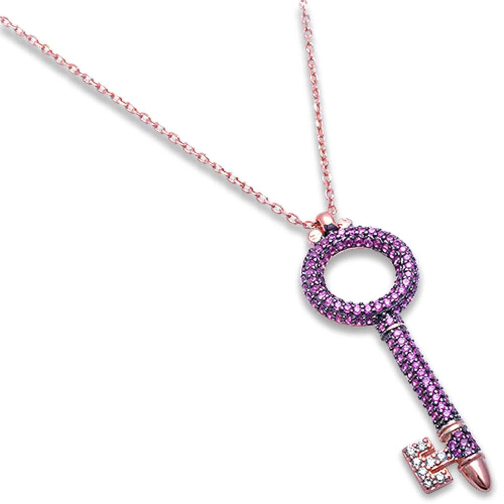 Rose Gold Plated Micro Pave Simulated Ruby & CZ Key Charm .925 Sterling Silver Pendant Necklace