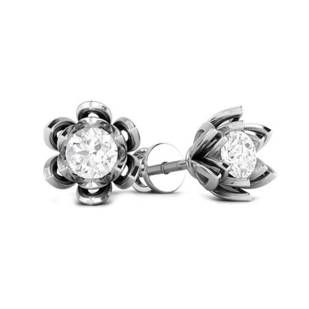 Harry Chad Enterprises 53019 14K White Gold Flower Style Round Cut 1.50 Carats Diamonds Women Studs Earrings - image 1 of 1