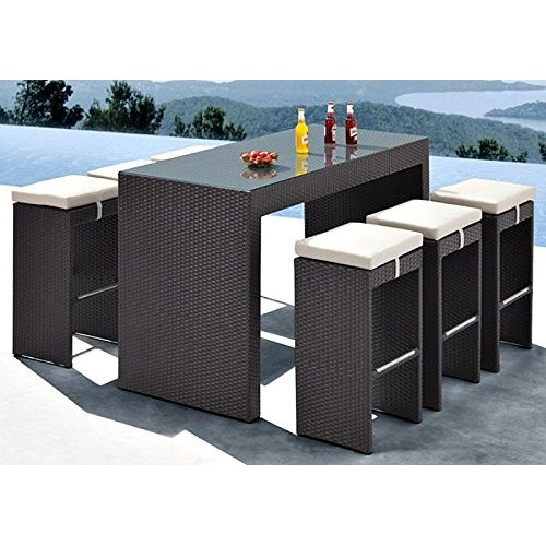 Outdoor Patio Bar Set 7 Piece 1 Glass Top Bar Table 6 Cushioned Bar Stools  PE