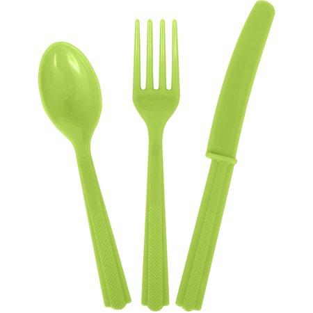 Assorted Plastic Silverware for 6, Neon Green, 18pc