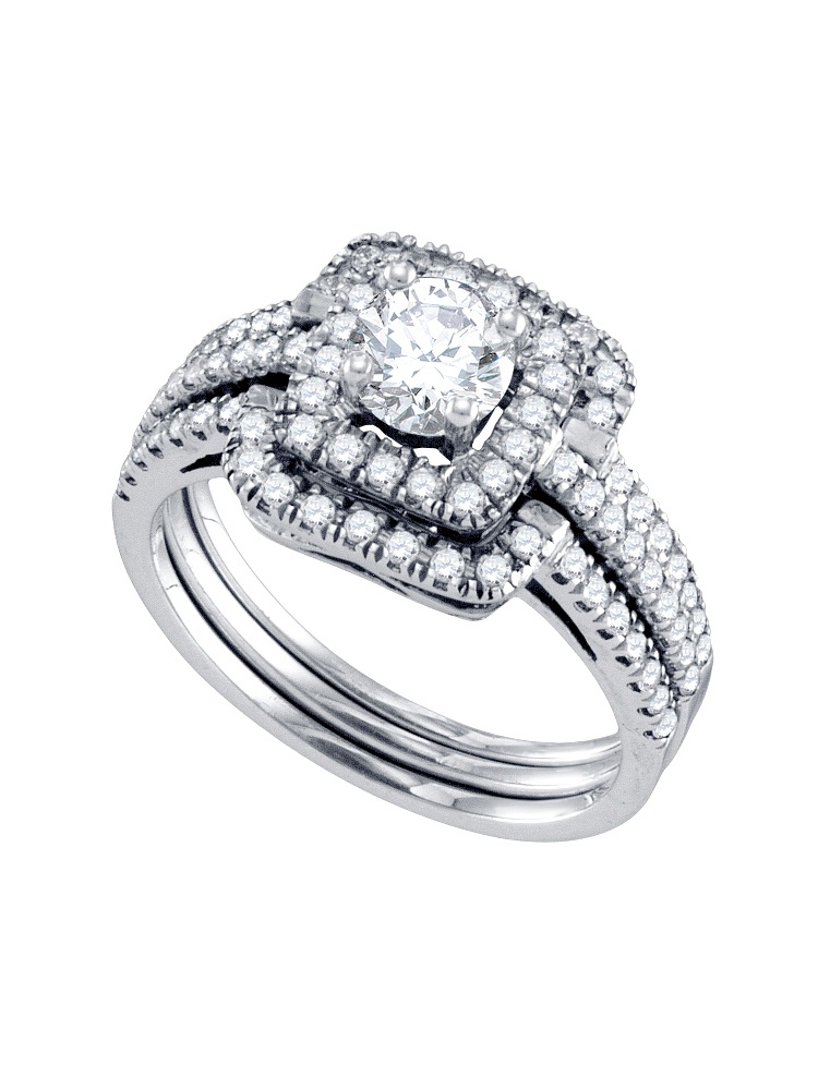 14kt White Gold Womens Round Diamond Square Halo Bridal Wedding Engagement Ring Band Set 1.00 Cttw by GND