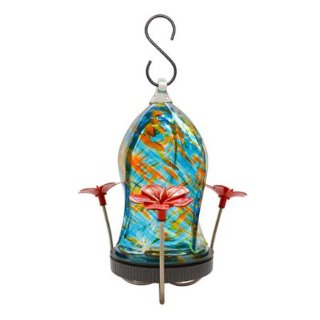 Twisted Jewel Hummingbird Feeder in Blue and Orange