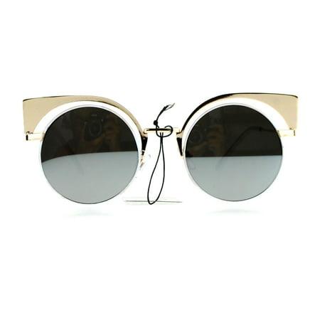 SA106 Color Mirror Metal Eyebrow Cat Eye Round Circle Lens Sunglasses Gold White Silver - Baby Eyes Brown Halloween Contact Lenses