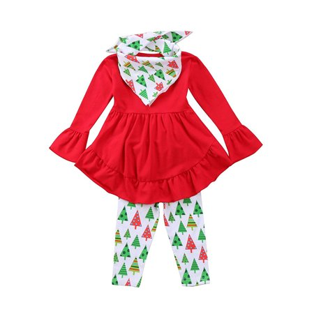 Christmas Baby Clothes Set Toddler Girl Clothes Ruffles Irregular Mini Dress Tops+Long Pant Scarf 3PCS Clothing Outfit Set (Toddler Christmas Clothing)
