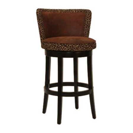 Armen Living Lisbon 30 in. Contoured Back Bar Stool with Leopard Print - Espresso