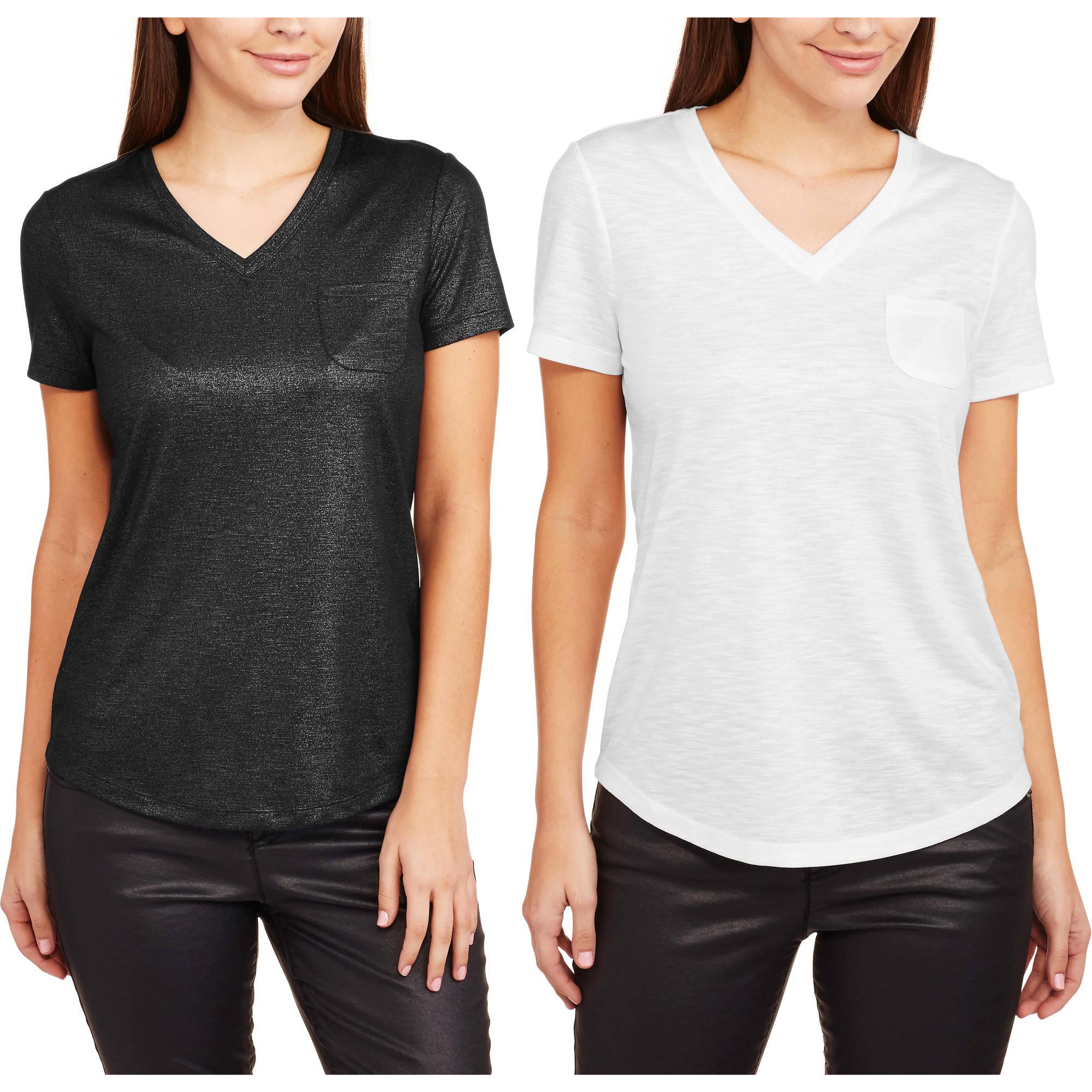 Faded Glory Women's Essential Foil Printed Short Sleeve V-Neck Pocket T-Shirt, 2 Pack Value Bundle