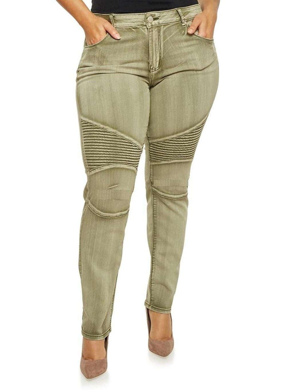 Jack David Women's Plus Size Moto Biker Stretch Skinny Denim Jeans Pants Y1648