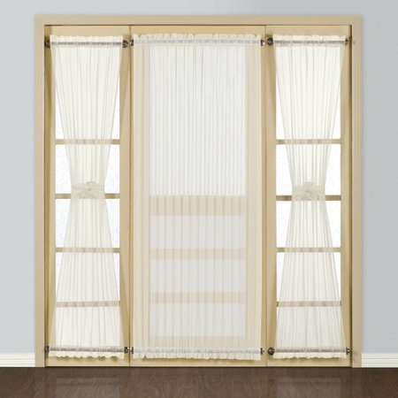 August Grove Giselle Full Door Solid Semi - Sheer Rod Pocket Single Curtain (2 Solid Full Door)