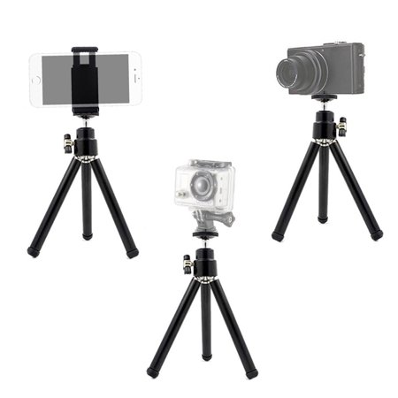 """eCostConnection 7"""" Extendable Mini Tripod + with Universal Smartphone Mount and Bluetooth Wireless Remote Control Camera Shutter for Smartphones & Microfiber Cloth - image 4 de 8"""