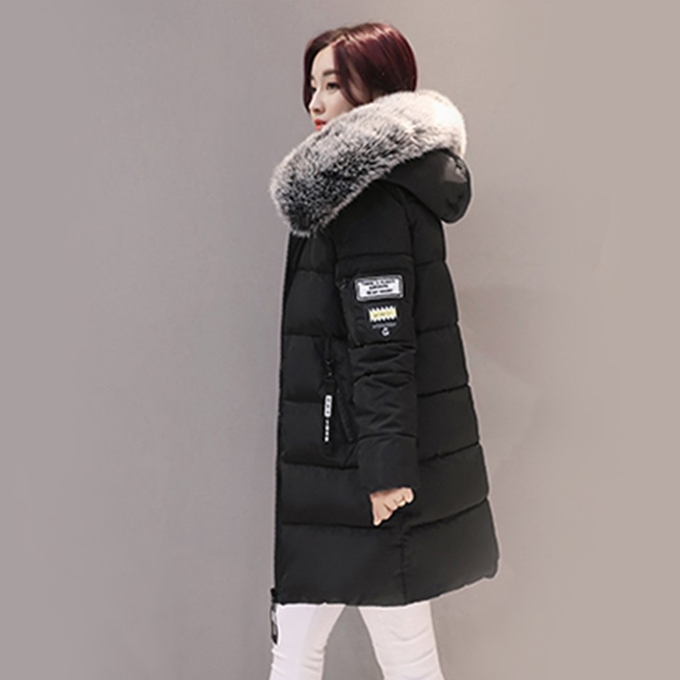 Fashion Women Long Down Cotton Parka Fur Collar Hooded Coat Winter Warm Jacket by