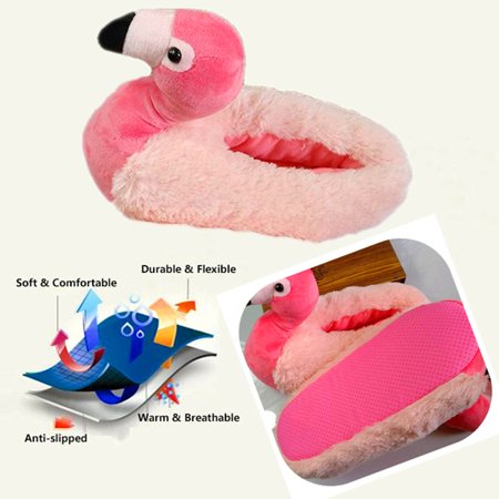 3D Flamingo Anti-slip Fluffy Slippers Warmer Slippers Fluffy Foot Warmer Plush Shoes Comfortable Women Indoor Slippers Home Use Winter Christmas Gifts - image 3 de 8
