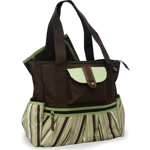 Chelsea & Main - Uptown Diaper Tote, Brown and Green Stripes