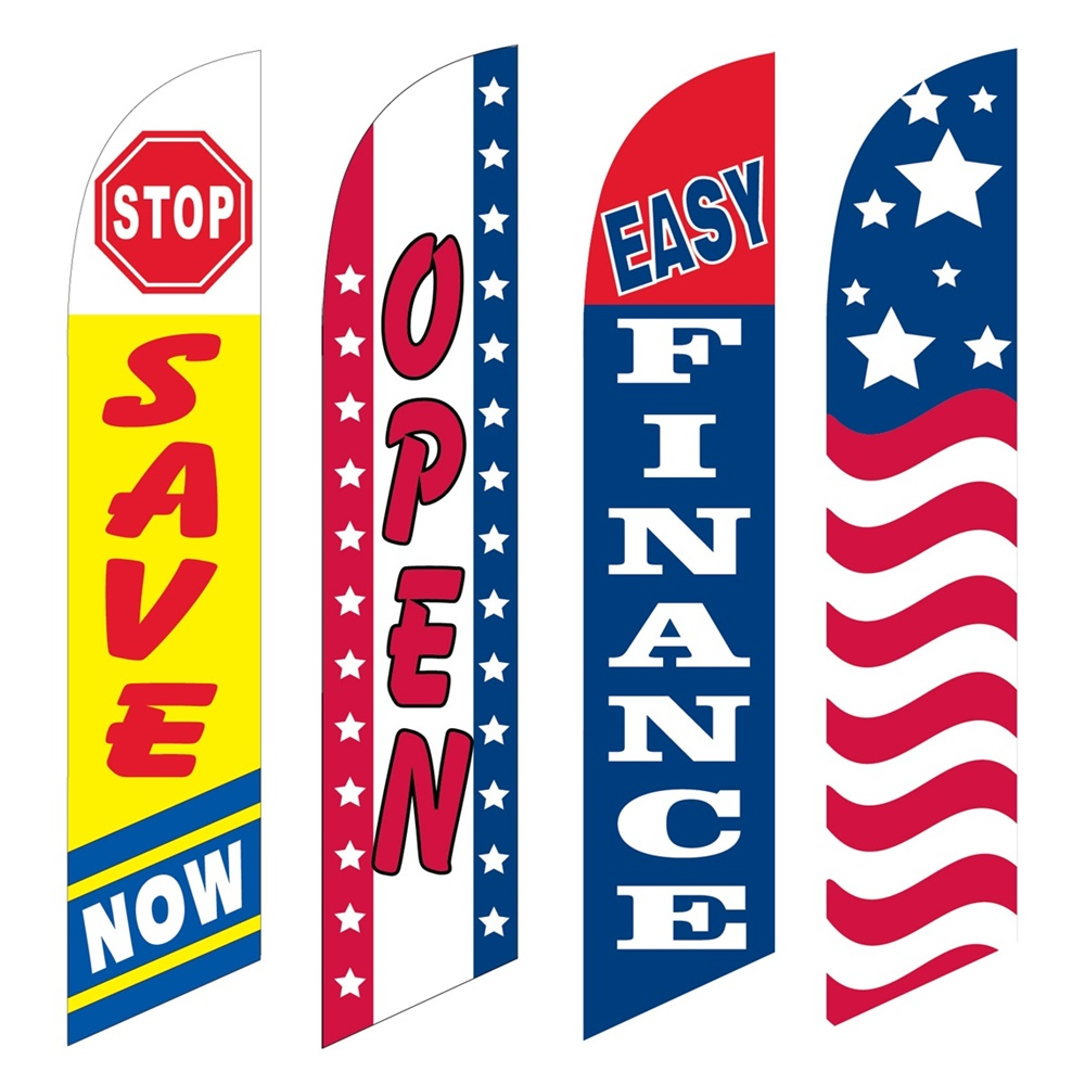4 Advertising Swooper Flags Stop Save Now Open Easy Finance USA