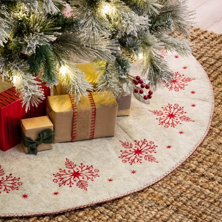 Belham Living Embroidered Scandinavian Felt Christmas Tree Skirt, 48