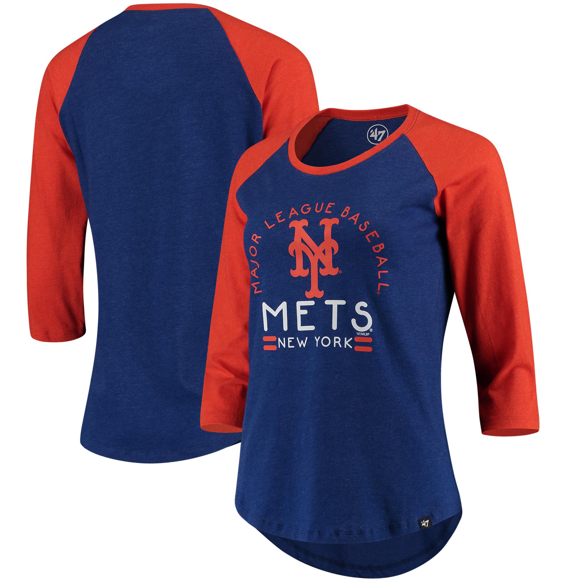 New York Mets '47 Women's Club 3/4-Sleeve Raglan T-Shirt - Heathered Royal