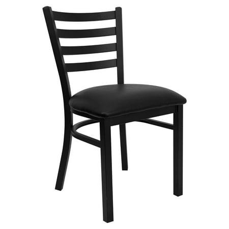 Flash Furniture HERCULES Series Black Ladder Back Metal Restaurant Chair, Vinyl Seat, Multiple Colors Black Metal Finish Restaurant Chair