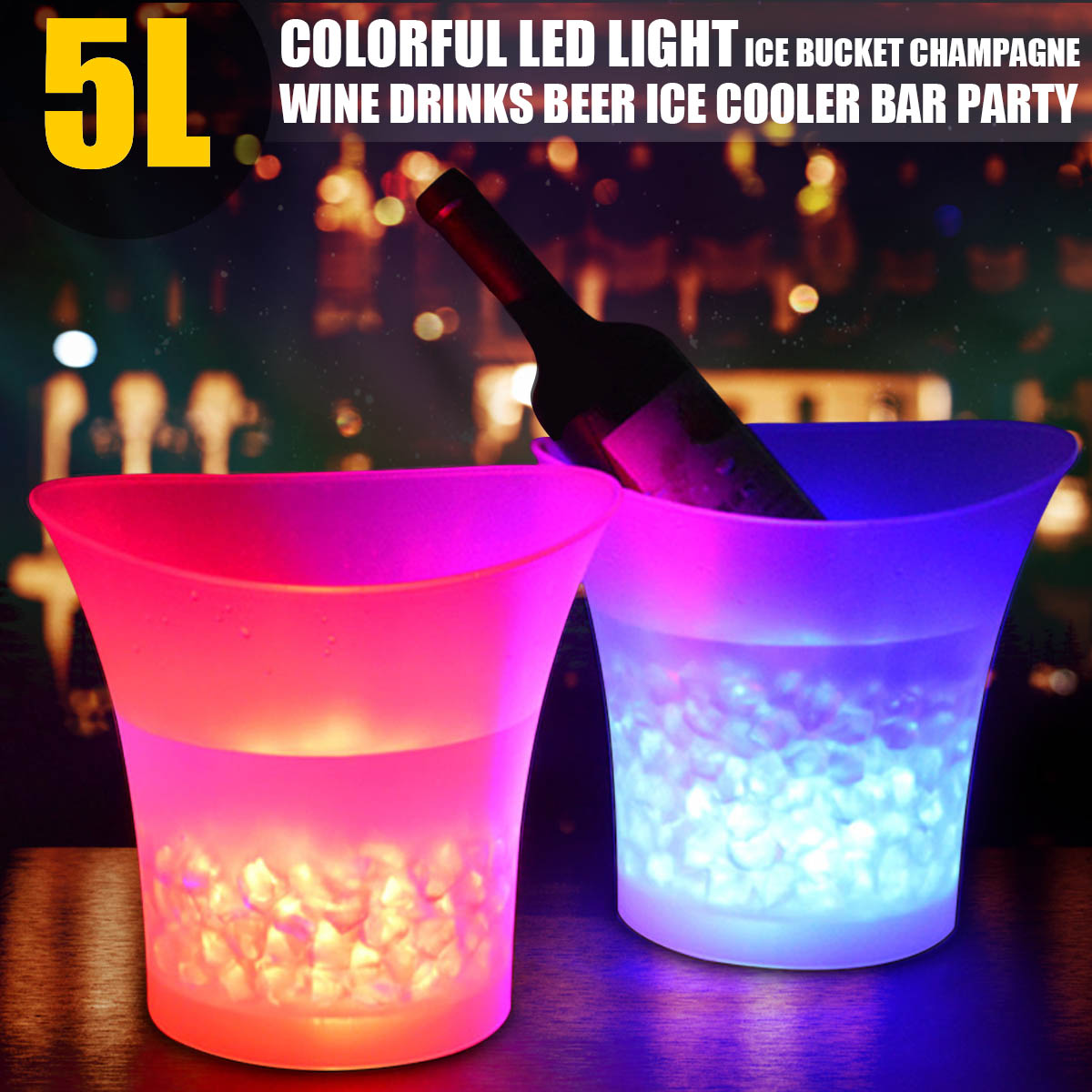5L LED Light Ice Bucket Champagne Wine Drinks Beer Ice Cooler Bar Party Home Color Changing