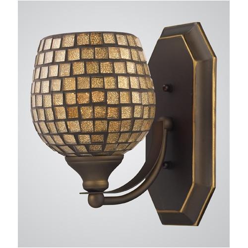 Elk Lighting 570-1B-GLD 1 Light Vanity in Aged Bronze & Gold Mosaic Glass