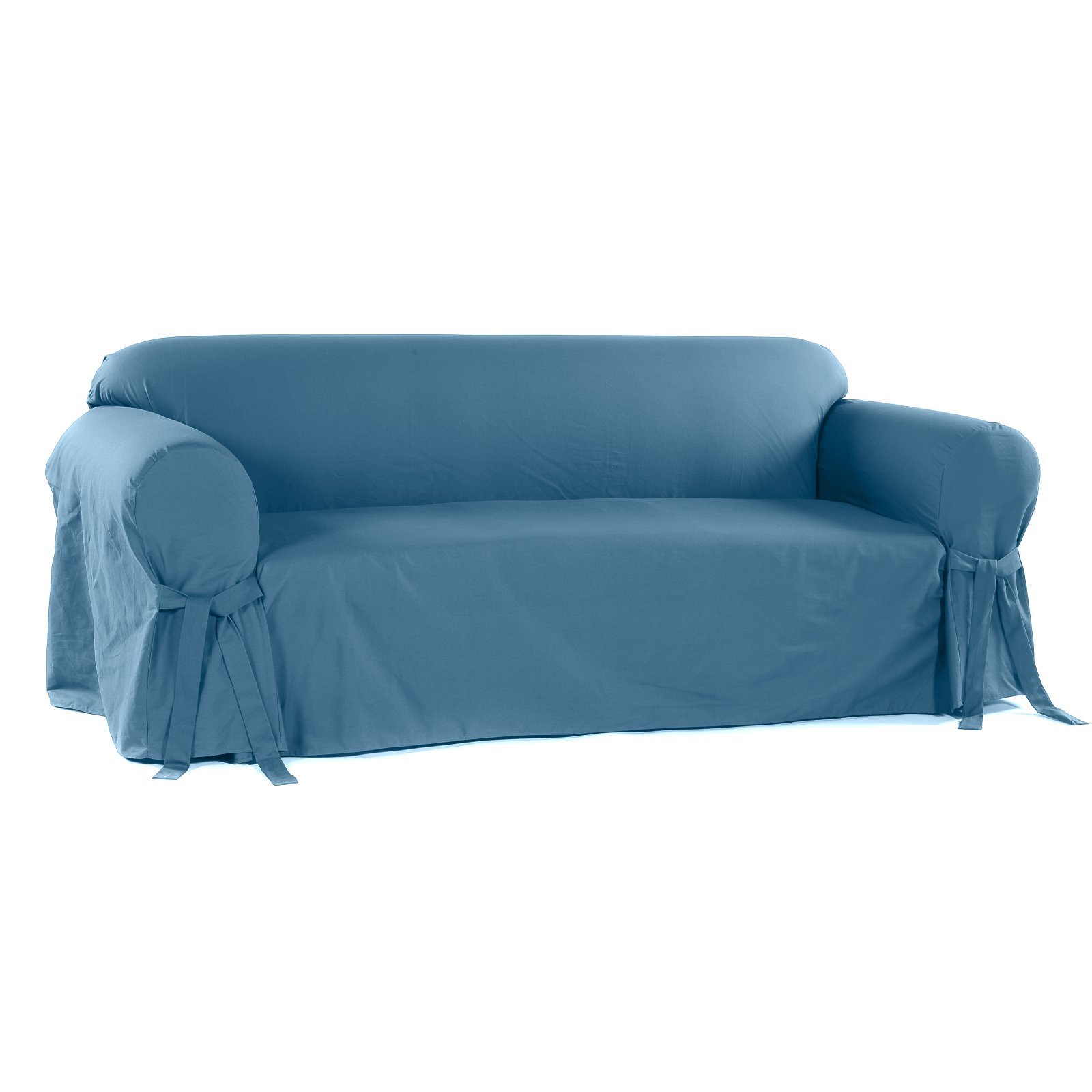 Classic Slip Covers 1 Piece Cotton Sofa Slipcover With Bowties