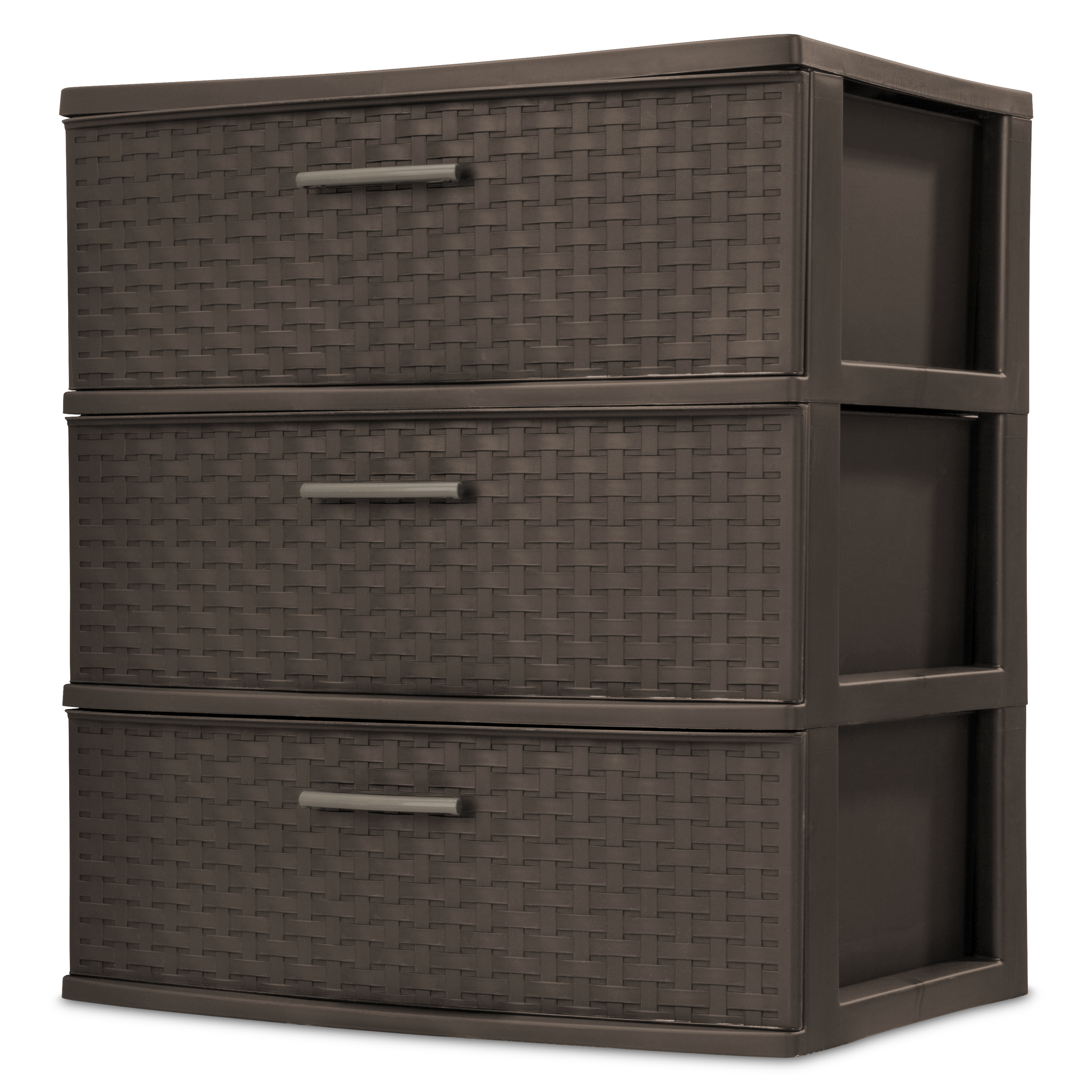 Sterilite 3 Drawer Wide Weave Tower, Espresso