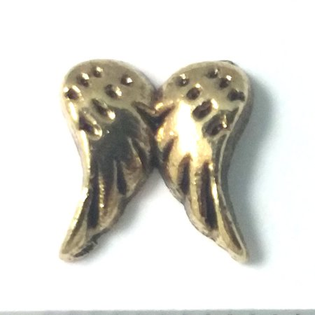 1 PC - Angel Wings Gold Charm for Floating Locket Jewelry F0088