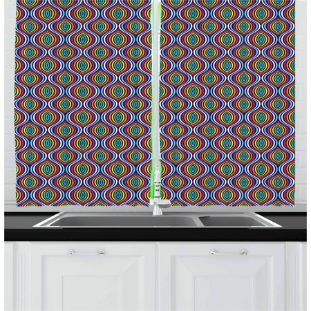 Geometric Curtains 2 Panels Set, Rainbow Colored Symmetrical Shapes Ethnic Motifs Abstract Old Fashioned Design, Window Drapes for Living Room Bedroom, 55W X 39L Inches, Multicolor, by Ambesonne ()