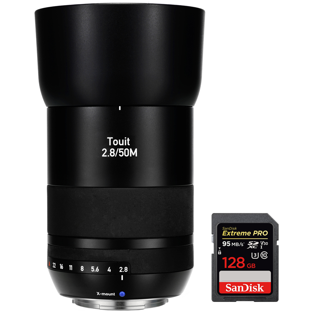 Zeiss Touit 50mm f/2.8 Macro Sony E-Mount Lens (2030-680) with Sandisk Extreme PRO SDXC 128GB UHS-1 Memory Card