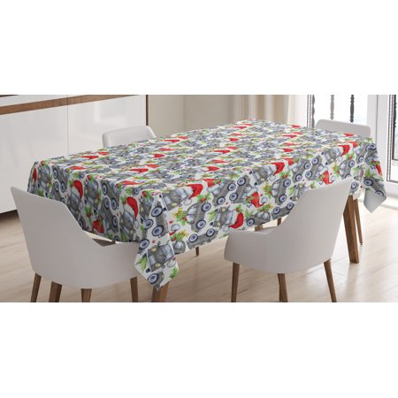 Cars Tablecloth, Christmas Themed Hand Drawn Cars with Santa Hats and Presents on Winter Holiday, Rectangular Table Cover for Dining Room Kitchen, 52 X 70 Inches, Lime Green Grey, by Ambesonne - Cat With Christmas Hat