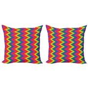Groovy Throw Pillow Cushion Cover Pack of 2, Rainbow Zig Zag Vertical Chevron Pattern Geometric Striped Repeat Vibrant Colors, Zippered Double-Side Digital Print, 4 Sizes, Multicolor, by Ambesonne