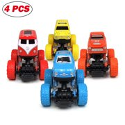 Toddler Toys Pullback Cars, Friction Powered Cars for Kids, Toddler Toys Inertia Car Toys for 2 3 4 5+ Year Old Boys Girls (4 Pack)