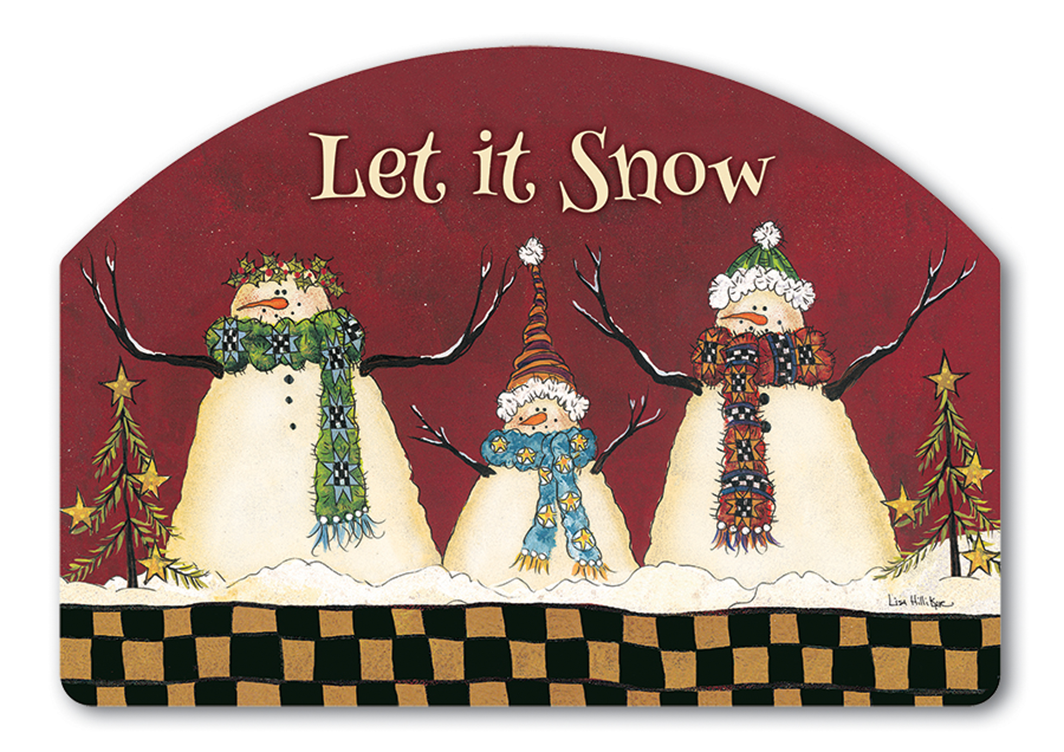 Primitive Snowman Winter Magnetic Yard DeSign & Address