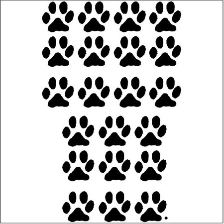 Decal Sticker Set ((3.5x3.5) Set of 21 Animal Paw Prints wall saying vinyl lettering art decal quote sticker home)