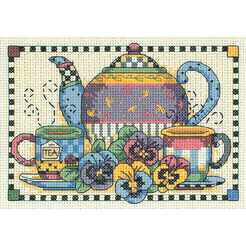"""Dimensions Teatime Pansies Mini Counted Cross Stitch Kit, 7"""" x 5"""", 14 Count"""