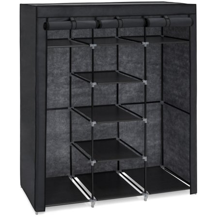 Best Choice Products 9-Shelf Portable Fabric Closet Wardrobe Storage Organizer w/ Cover and Adjustable Rods, Black ()