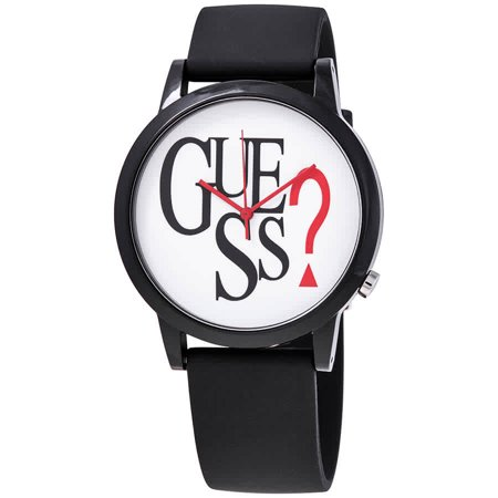 Guess Originals Black Logo Quartz White Dial Unisex Watch V1021M1 Guess Logo Dial Watch
