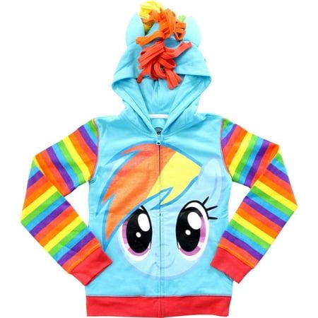 Rainbow Dash Glitter My Little Pony Youth Hoodie Girls Kids Sweatshirt Costume