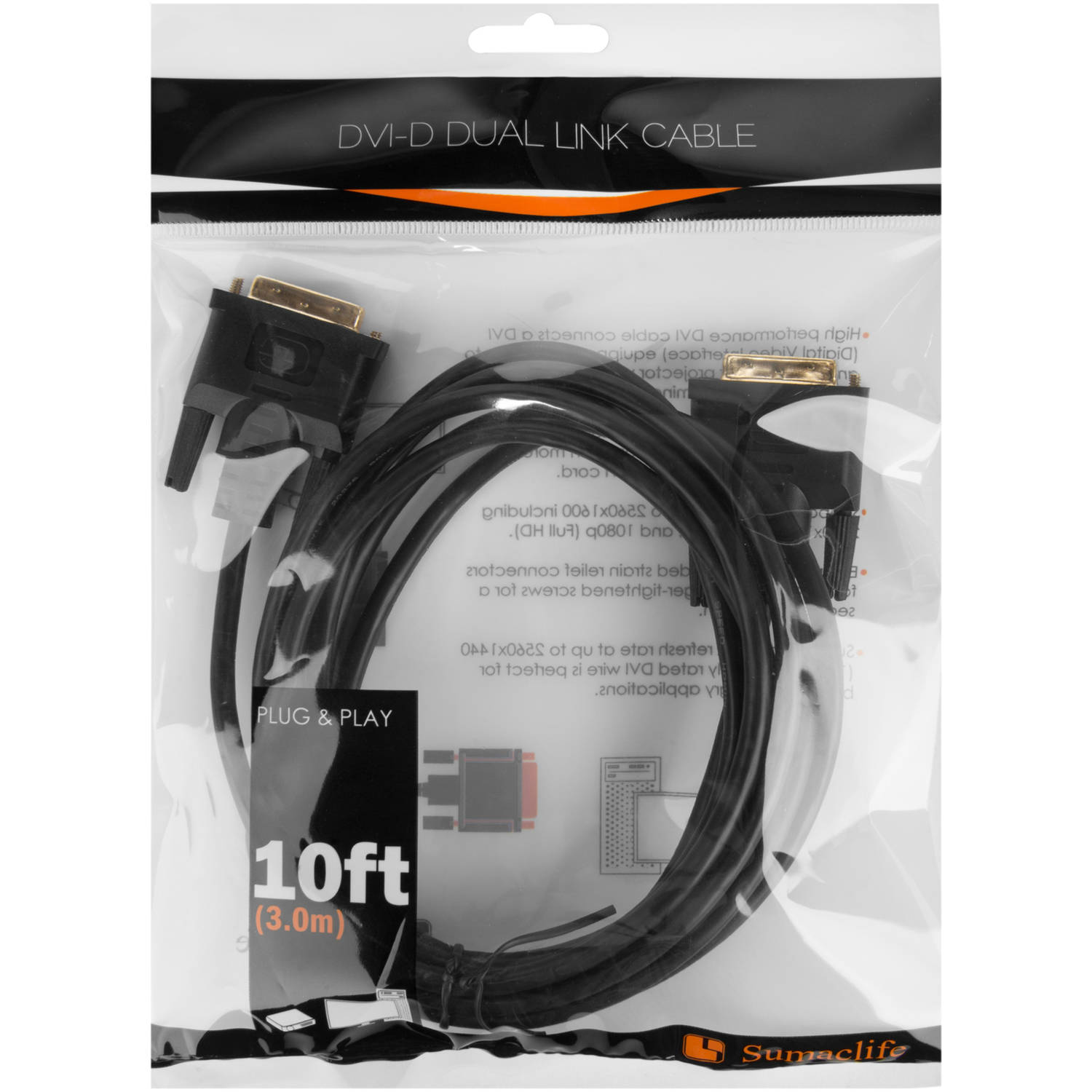 DVI DL Computer Monitor Cable, 10""