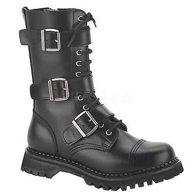 RIOT12 B LE Demonia Leather Shoes & Boots BLACK Size: 6 by