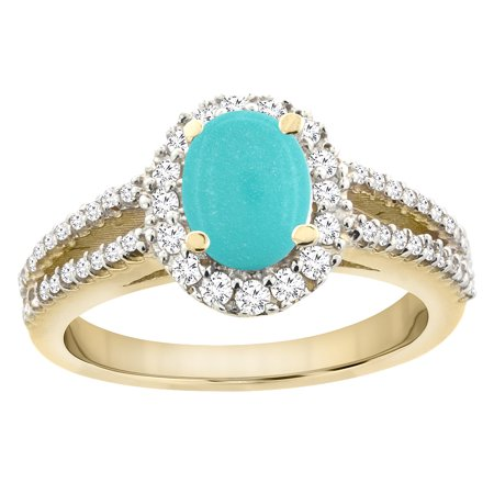 Turquoise Split Shank Oval Ring (14K Yellow Gold Natural Turquoise Split Shank Halo Engagement Ring Oval 7x5 mm, size 5 )