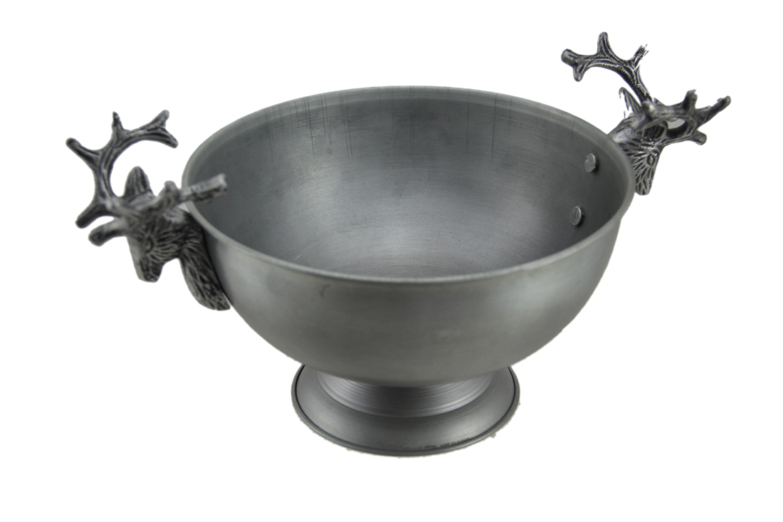 Antique Silver Metal Serving Bowl with Deer Head Handles by AUDREYS