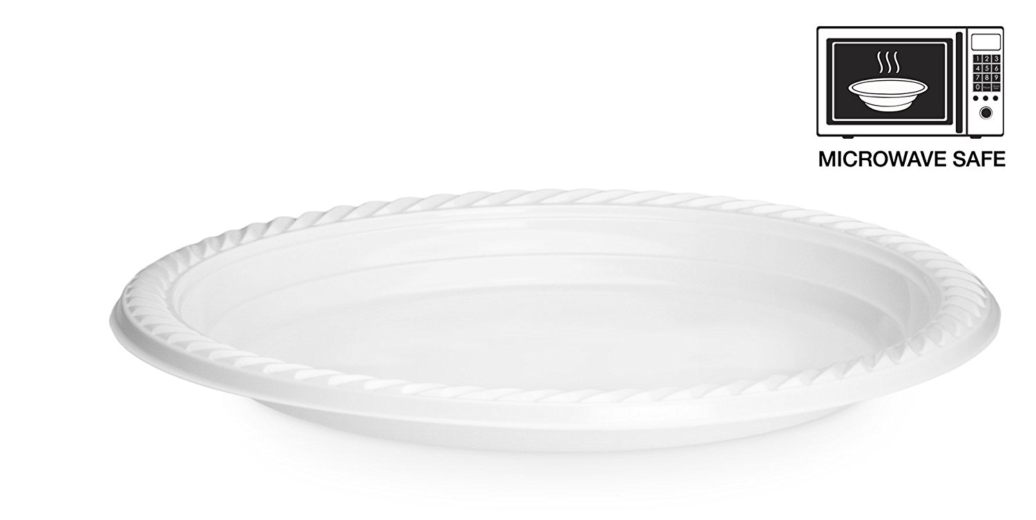 Basix 100 Count Disposable Plastic Plates Microwave Safe 9-Inch White Pack Of 4  sc 1 st  Walmart.com & Basix 100 Count Disposable Plastic Plates Microwave Safe 9-Inch ...
