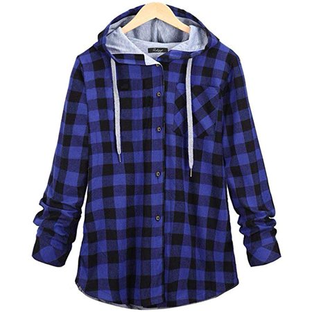 Women's Plus Size Autumn Spring Casual Long Sleeve Plaid Hooded Cardigan Jacket with Pocket